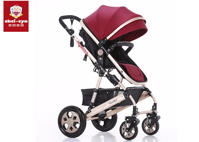 Adjustable Handle Bar Baby Pushchair Stroller Oxford Fabric With 5 Points Safety Harness